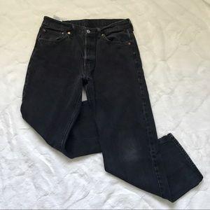 Levi's Black Wash 501 Button Fly Jeans 34x29